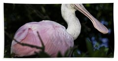 Roseate Spoonbill Beach Sheet by Fran Gallogly