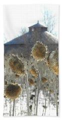 Round Barn With Sunflowers Beach Towel