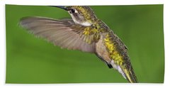 Ruby Throated Hummingbird Beach Towel