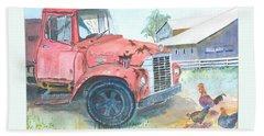 Rusty Truck Beach Towel by Christine Lathrop