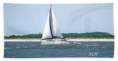 Sailboat On The Water Beach Towel