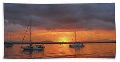 Beach Towel featuring the digital art Sailboats At Anchor by Anne Mott