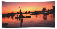 Sailing End Of The Day Backbay  Boston Beach Towel by Tom Wurl