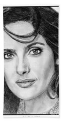 Beach Towel featuring the drawing Salma Hayek In 2005 by J McCombie