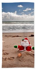 Santa At The Beach Beach Towel