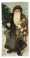Santa Claus With Toys Beach Towel