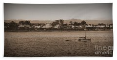 Santa Cruz Boardwalk Sepia Beach Towel by Garnett  Jaeger