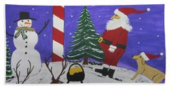 Santa Finds Pot Of Gold Beach Towel