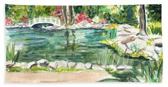 Beach Sheet featuring the painting Sayen Pond by Clara Sue Beym