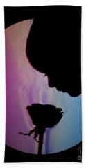 Schlieren Image Of A Boy Smelling A Rose Beach Towel