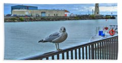 Beach Towel featuring the photograph Seagull At Lighthouse by Michael Frank Jr