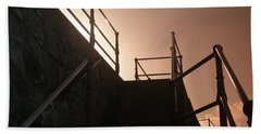 Beach Towel featuring the photograph Seaside Railings by Terri Waters