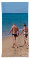 Senior Elderly  Lover Couple Beach Sheet by Atiketta Sangasaeng
