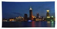 Shanghai Bund Panorama - Night Beach Towel