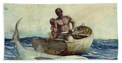 Shark Fishing Beach Towel by Winslow Homer