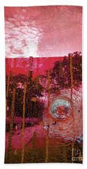 Beach Towel featuring the photograph Abstract Shattered Glass Red by Andy Prendy