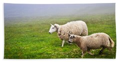Sheep In Misty Meadow Beach Towel