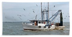 Shrimp Boat And Gulls Beach Sheet