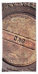 Sidewalk Gas Cover Beach Sheet by Bill Owen
