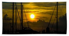 Silhouettes At The Marina Beach Towel by Shannon Harrington
