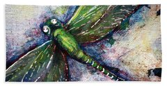 Silver Dragonfly Beach Towel