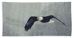 Snow Flight Beach Towel by Myrna Bradshaw