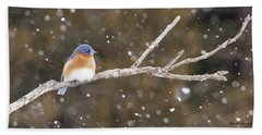 Snowy Bluebird Beach Towel