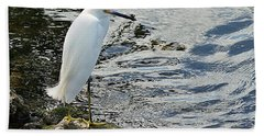Snowy Egret 2 Beach Towel by Joe Faherty
