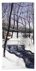 Beach Sheet featuring the painting Snowy Shawnee Stream by Clara Sue Beym