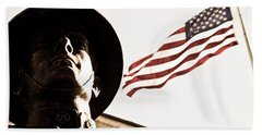 Soldier And Flag Beach Towel
