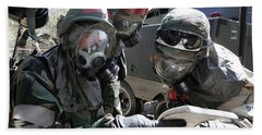 Soldiers Check Their Airmans Manual Beach Towel