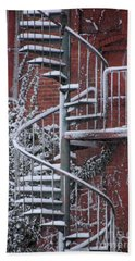 Spiral Staircase With Snow And Cooper's Hawk Beach Towel