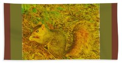 Beach Towel featuring the photograph Squirrel Under My Tree by Lenore Senior