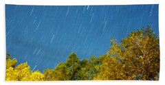 Beach Sheet featuring the photograph Star Trails On A Blue Sky by Kay Lovingood