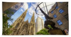 Statue And Spires Beach Towel