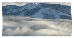 Beach Towel featuring the photograph Steamboat Ski Area In Clouds by Don Schwartz