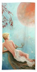 Strawberry Moon Nymph Beach Towel by Michael Rock