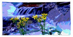 Beach Towel featuring the photograph Stream And Flowers by Zawhaus Photography