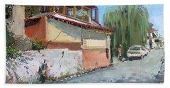 Street In A Greek Village Beach Towel