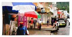 Street Scene In Rosea Dominica Filtered Beach Towel