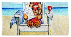Beach Towel featuring the mixed media Sudoku At The Beach by Catia Lee