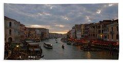 Sun Sets Over Venice Beach Towel by Eric Tressler