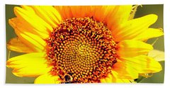 Sunflower And Bee Beach Sheet by Paul  Wilford