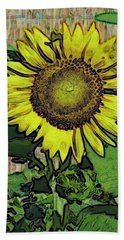 Sunflower Face Beach Towel by Alec Drake