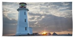 Sunrise At Peggys Cove Lighthouse In Nova Scotia Number 041 Beach Sheet by Randall Nyhof