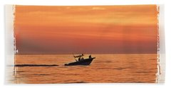 Beach Towel featuring the photograph Sunrise Boat Ride by Janie Johnson