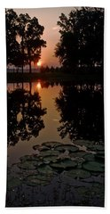 Sunrise From My Pad Beach Towel by Dan Wells