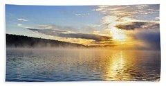 Sunrise On Foggy Lake Beach Towel