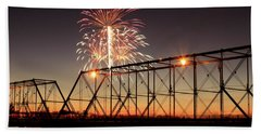 Sunset And Fireworks Beach Towel