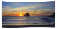 Sunset At Cape Kiwanda Oregon Beach Towel